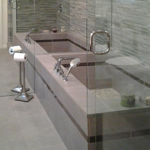 Pasadena Ca contemporary bathroom suite remodel by tile contractor Ceramic Finishes