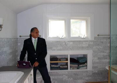 M. Joe Bermudez, licensed & bonded tile contractor, owner, Ceramic Finishes, at a completed South Pasadena Ca Craftsman Home full bathroom remodel