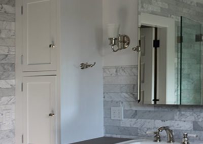 Carrara Marble Bathroom Wall installation, South Pasadena by Ceramic Finishes