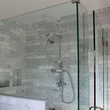 South Pasadena Ca Craftsman Home Remodel, Carrara Marble Tile Shower Installation by tile contractor Ceramic Finishes
