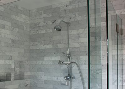 Carrara Marble Tile Shower Installation South Pasadena CA by Ceramic Finishes
