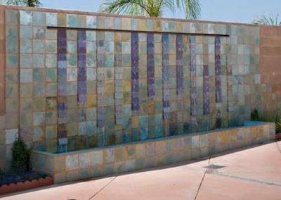 Sunland, Ca, Water Fountain Wall designed by tile artist Cha-Rie Tang, installed by tile contractor Ceramic Finishes