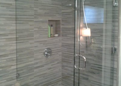 Pasadena Ca contemporary shower in bathroom suite remodel by tile contractor Ceramic-Finishes