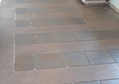 Altadena Ca Craftsman Home tiled floor-in-progress, installation by tile contractor Ceramic Finishes
