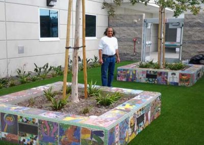 Custom-ceramic-outdoor-planter-box-benches-installed-by-tile-contractor-Ceramic-Finishes