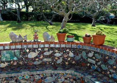 Outdoor art tile ceramic bench constructed/installed by Ceramic Finishes, art tile by Julie-Bagish, Silver Lake Ca.