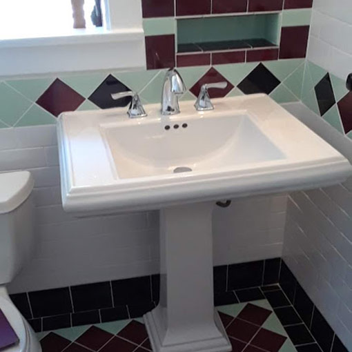 South Pasadena Ca Art Deco style bathroom remodel by tile contractor Ceramic Finishes