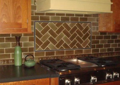South Pasadena Ca commercial design firm showroom, kitchen backsplash installation by tile contractor Ceramic Finishes