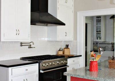 South Pasadena Ca Craftsman Home kitchen remodel, classic white subway tile backsplash, installed by tile contractor Ceramic Finishes
