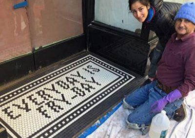 Downtown L.A. restaurant astro - mosaic tile entryway by Ceramic Finishes