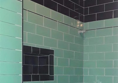 Highland Park Art Deco bathroom remodel, shower detail, by Ceramic Finishes, Los Angeles tile contractor.
