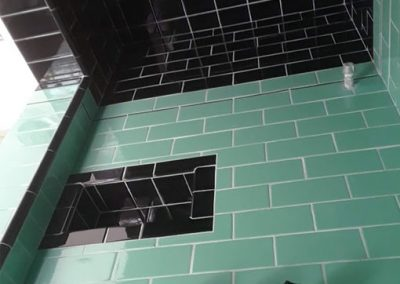 Highland Park Art Deco shower remodel by Ceramic Finishes, Los Angeles tile contractor.